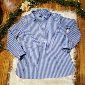 TALBOTS lightblue & white button down top sz14